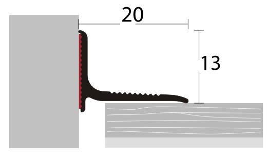 Stěnová ukončovací lišta 20x13mm, stříbrná, 2,5 m